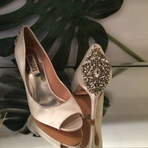 Badgley mischka Kiara satin crystal bridal heels